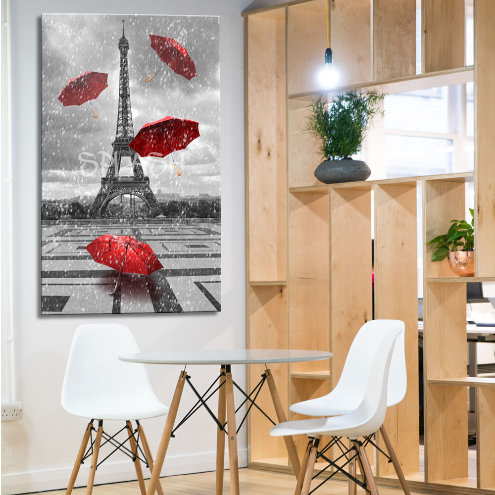 Eiffel tower with vintage umbrella painting