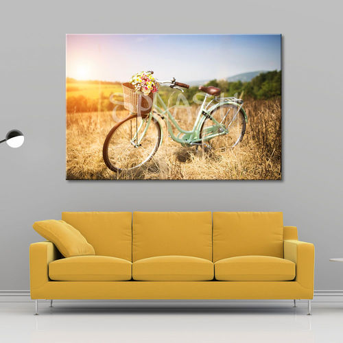 Vintage Bicycle Landscape Painting