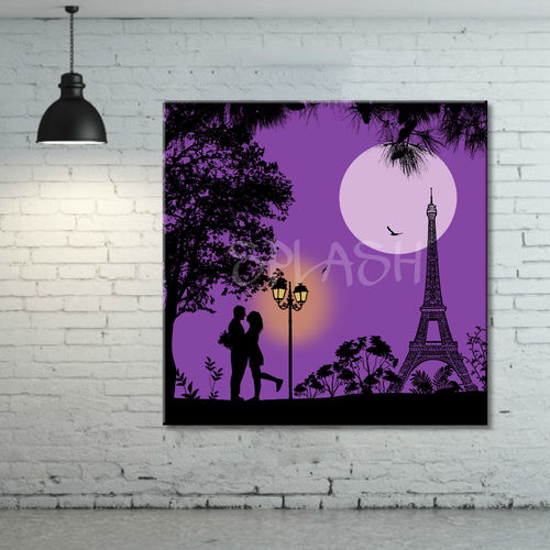 Painting Paris Lovers Eiffel Tower