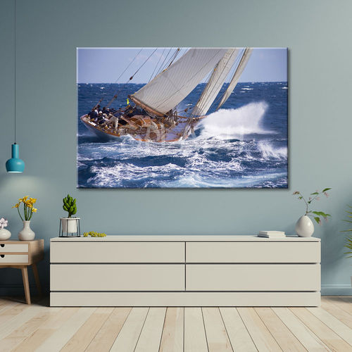 Seascape painting with sailboats