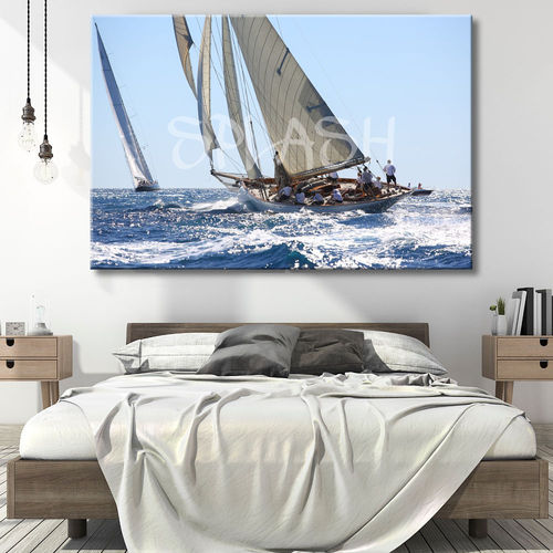 Regatta painting printed with sailboats