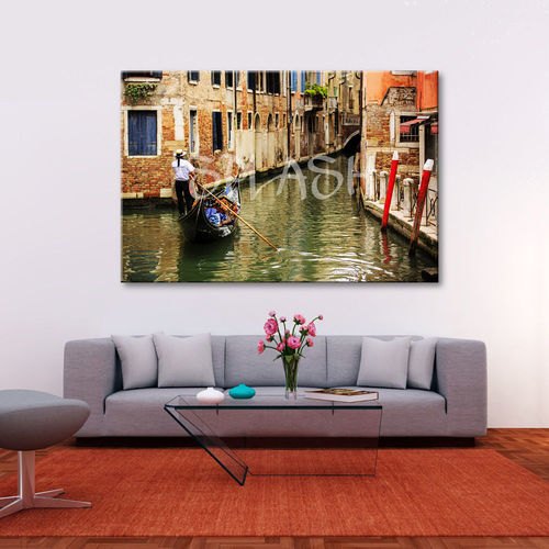 Painting with Gondola in Venice Canal