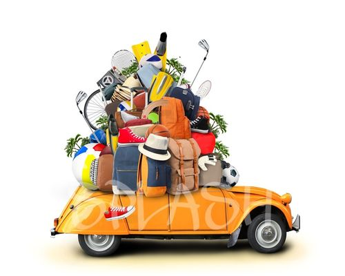 Painting of car loaded with objects