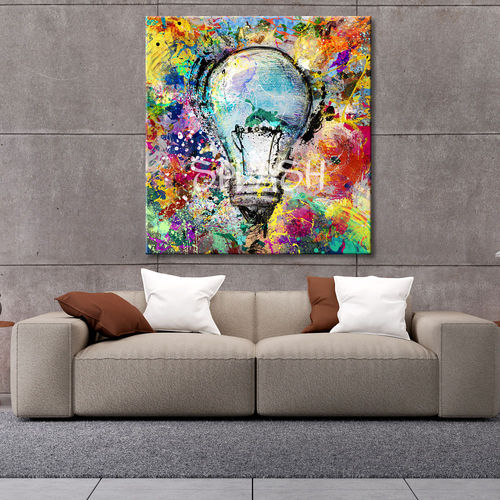Abstract colorful painting with bulb