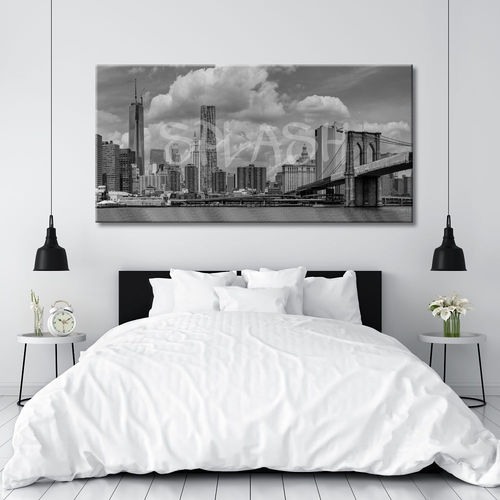 New York black and white skyline painting