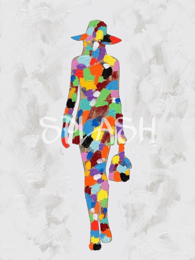Cuadro silueta mujer paseando en colores cuadros splash - Cuadros de colores ...