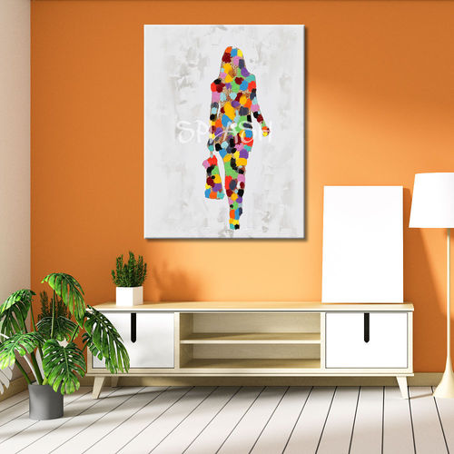 Woman walking colorful painting