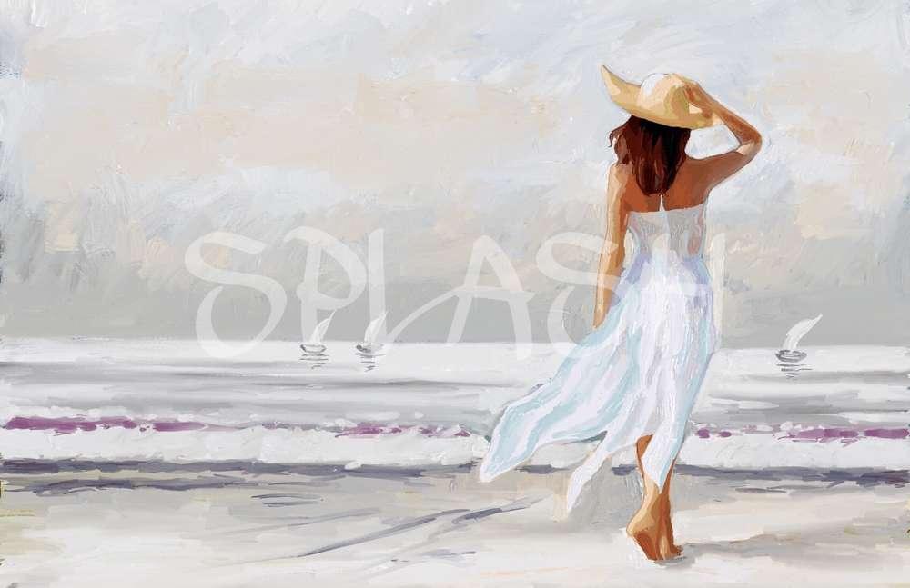 Cuadro de mujer en la playa Tiendasde Cuadros Modernos   Cuadros Splash