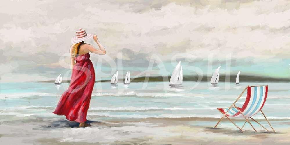 Cuadro de mujer en la playa Cuadros de marinas Cuadros Modernos Splash