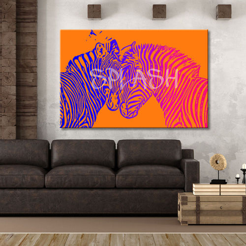 Orange Zebras Pop Art Painting