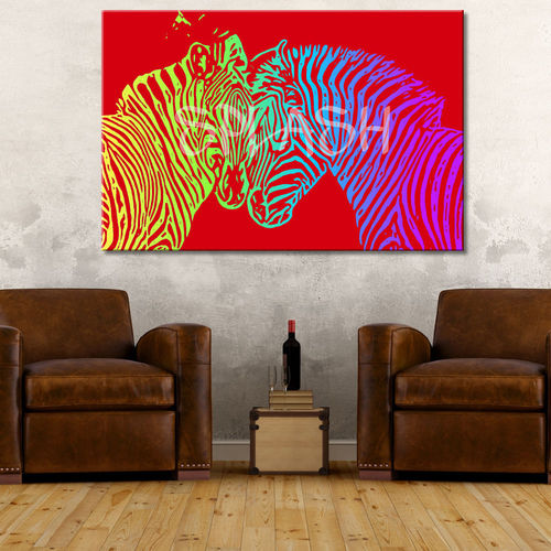 Pop art red zebras painting