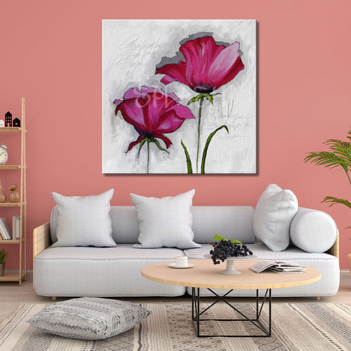 Magenta flowers painting on a white background