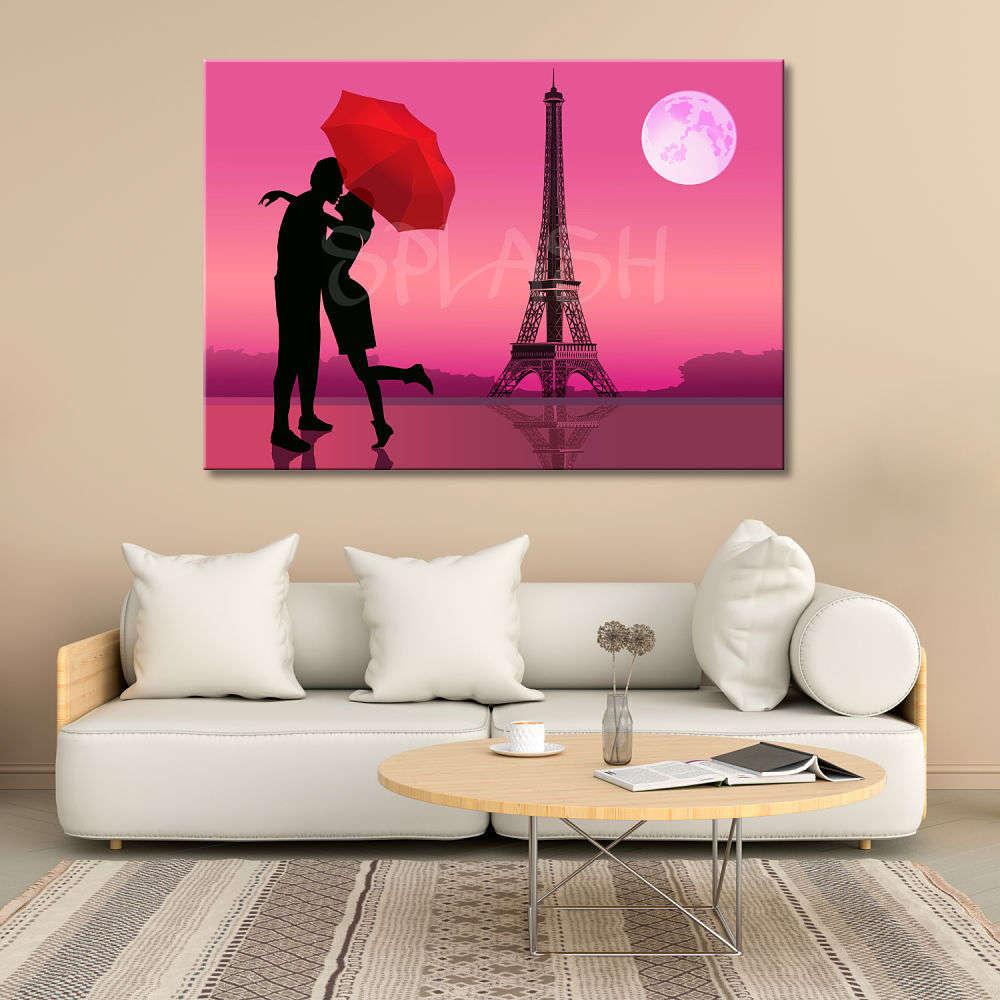 Cuadro Romántico París Torre Eiffel Con Pareja Cuadros Splash