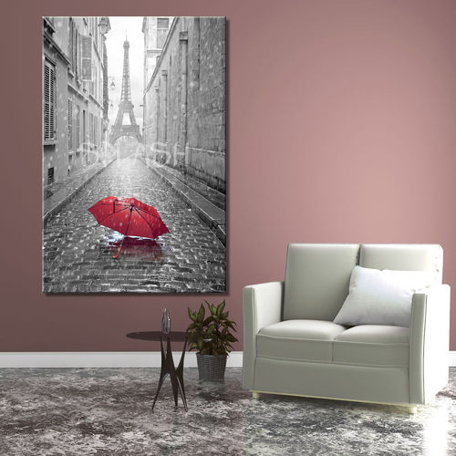 Black & white Paris umbrella painting