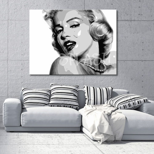 Marilyn Monroe black and white painting