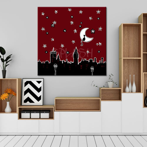 Painting Comic skyline night with cat