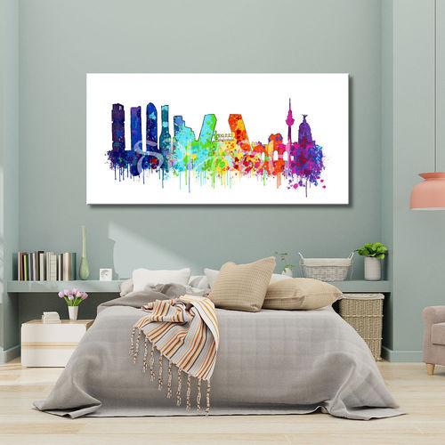 Splash Skyline Madrid painting printed