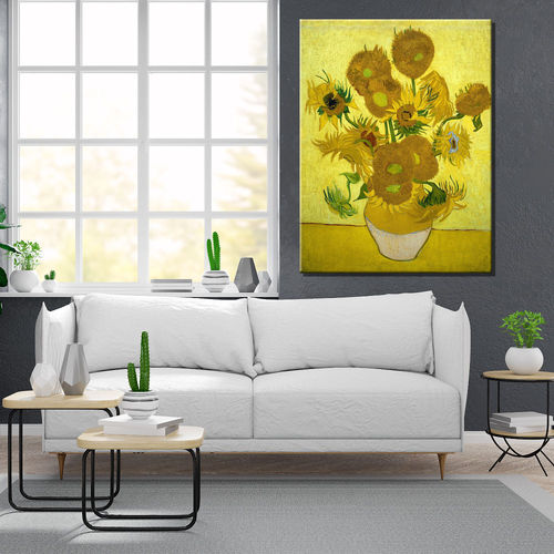 Van Gogh painting sunflowers yellow
