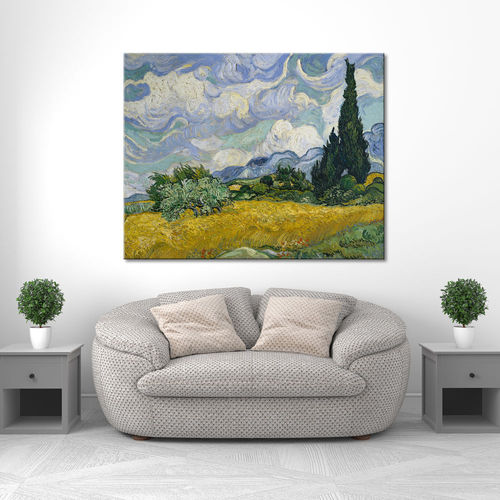 Van Gogh canvas wheat field with cypresses