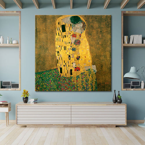 Picture Klimt's kiss printed on canvas