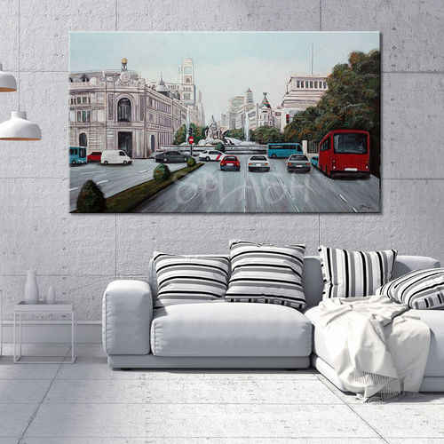 Urban painting Madrid Cibeles with cars