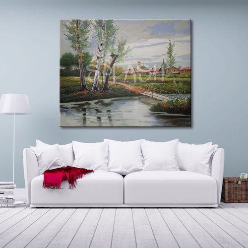Landscape painting with trees and river
