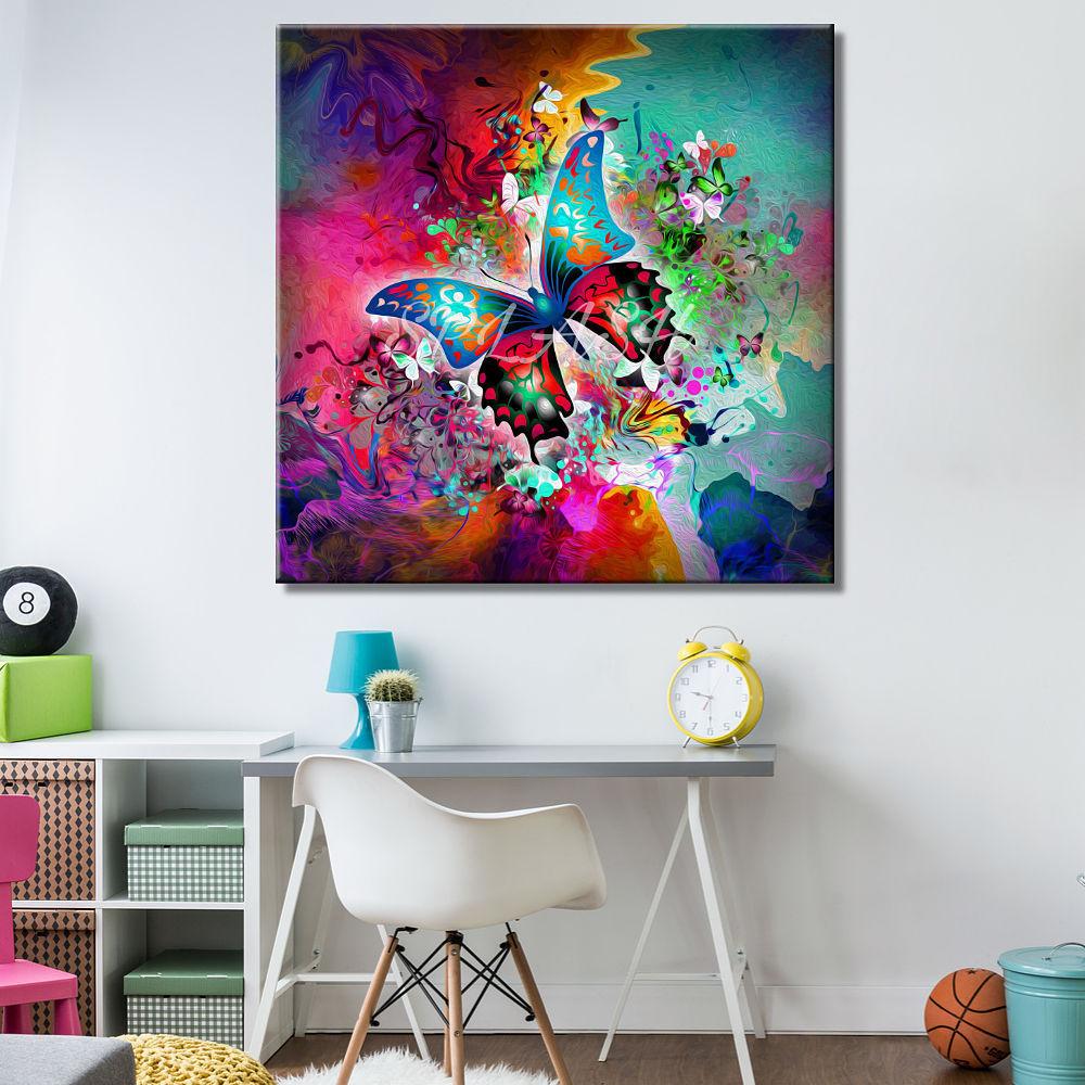 Cuadro moderno abstracto mariposa impreso cuadros splash - Cuadros juveniles modernos ...