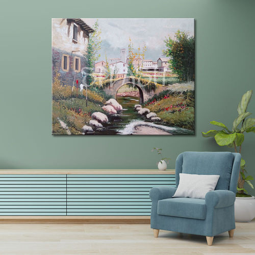 Classic landscape painting houses and bridge