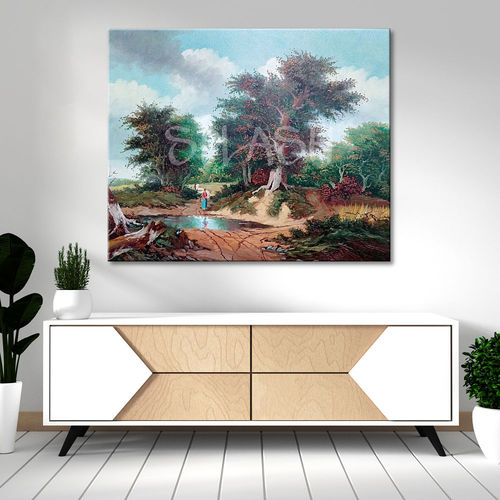 Classic landscape painting with trees