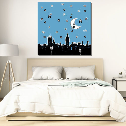 Painting of city with starry night and moon