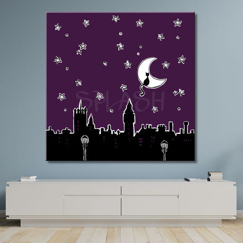 Skyline and Moon Starry Night Painting