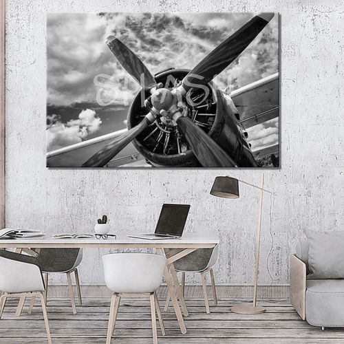 Vintage Black & White Airplane Painting