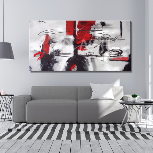 Abstract painting white red and black