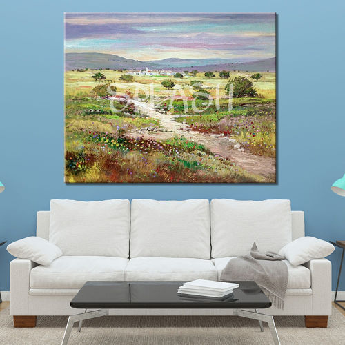 Classic Country Landscape with Flowers Painting