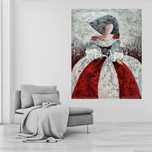 Menina painting red and grey texture