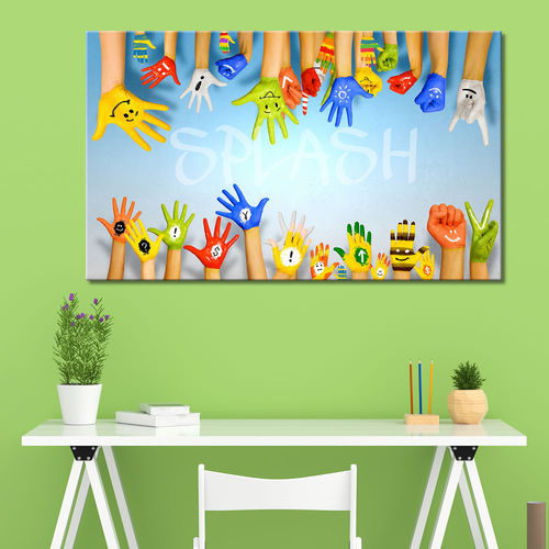 Children's Painting Hands Printed Colors