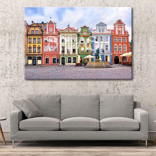 Printed Poland houses colors picture