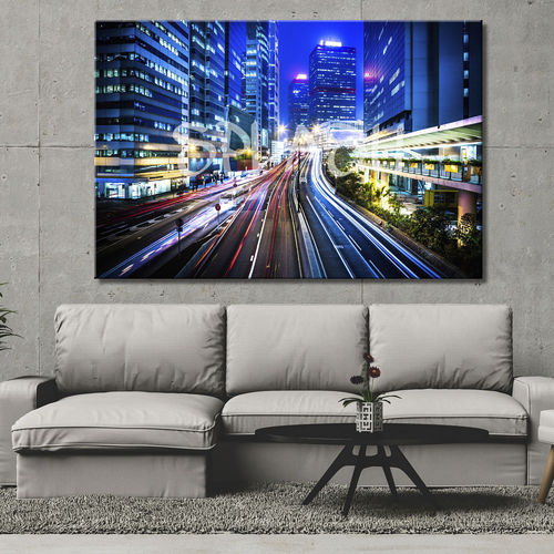 Cityscape painting of Blue Night City