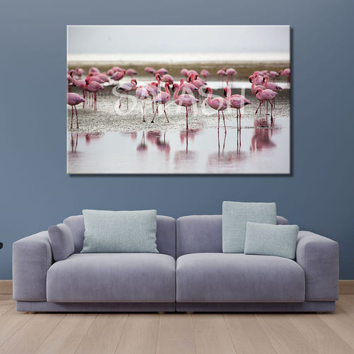 Ethnic painting with flamingos in the water