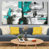 Abstract grey and turquoise painting