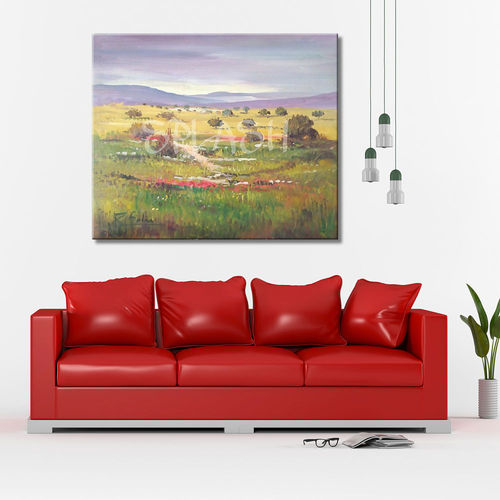 Country Landscape painting with flowers