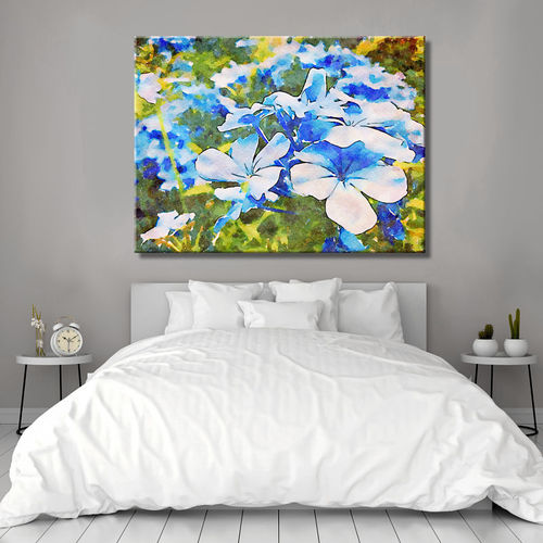 Blue and green flower painting