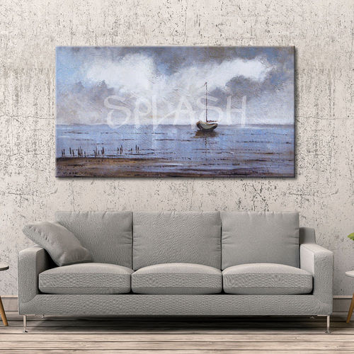 Marine painting in grey with boat