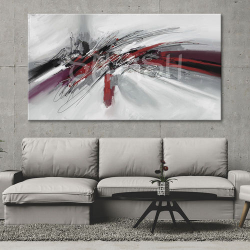 Abstract painting red black and silver