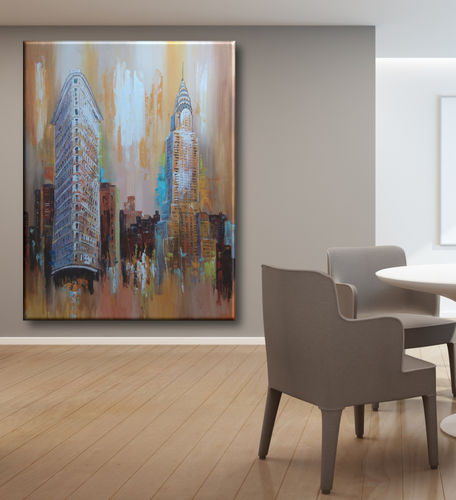 Colorful painting with New York buildings