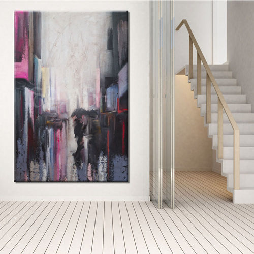 Urban abstract painting with figures