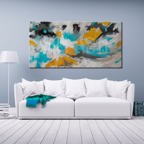 Turquoise and Mustard Abstract Painting