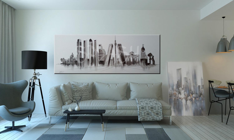Cuadro skyline madrid blanco y negro tiendas de cuadros de madrid splash - Cuadros grandes para salon ...