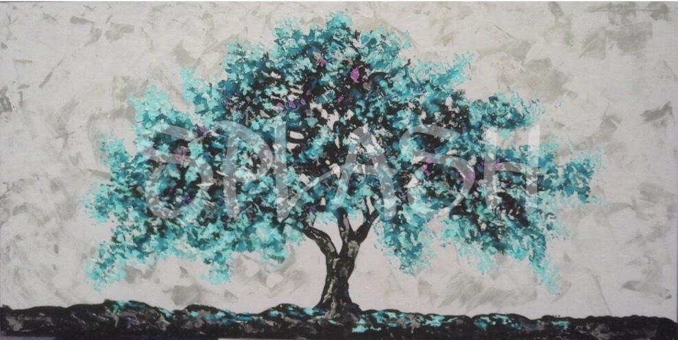 Cuadro rbol turquesa tienda de cuadros modernos online for Cuadros bonitos y modernos