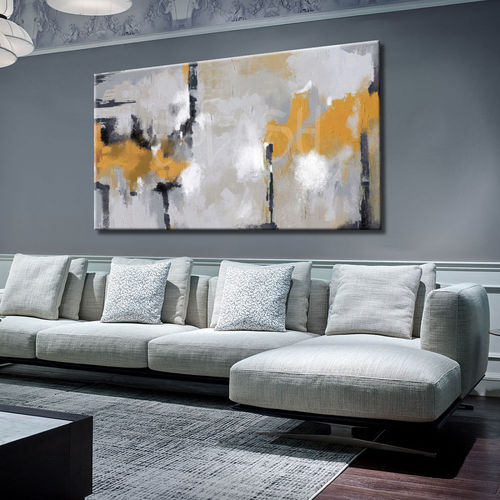 Abstract painting in gray and mustard